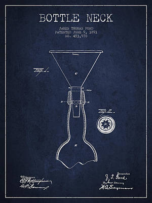 Beer Royalty-Free and Rights-Managed Images - Vintage Bottle Neck patent from 1891 by Aged Pixel