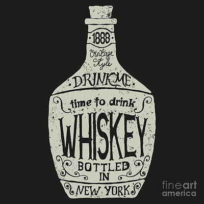 Seals Wall Art - Digital Art - Vintage  Bottle Of Whiskey With by Dimonika