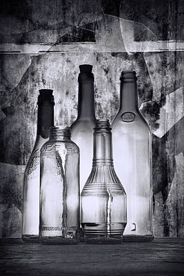 Wine Bottle Wall Art Photograph - Vintage Bottles In Black And White by Randall Nyhof