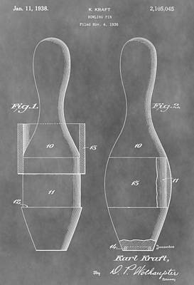 Beer Drawings - Vintage Bowling Pins Patent by Dan Sproul