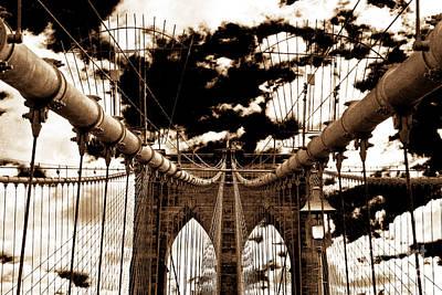 Vintage Brooklyn Bridge Art Print by John Rizzuto