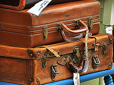 Photograph - Vintage Brown Luggage by Janice Drew