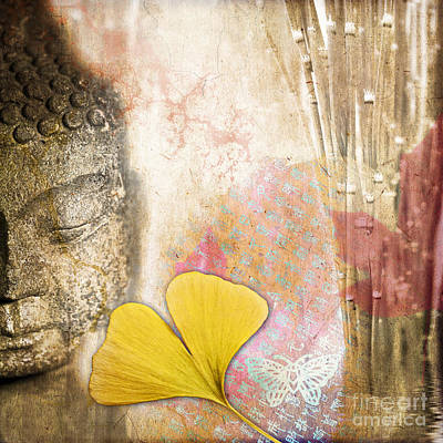 Vintage Buddha And Ginkgo Print by Delphimages Photo Creations