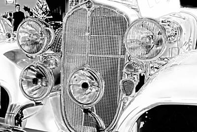 Photograph - Vintage Buick Grill Black And White by Lesa Fine
