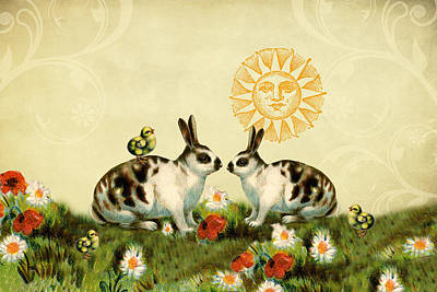 Digital Art - Vintage Bunnies And Chicks by Peggy Collins
