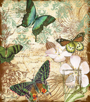 Jean Plout Digital Art - Vintage Butterfly Kisses  by Jean Plout