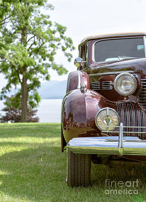 Pencil Drawing Photograph - Vintage Caddy At Lake George by Edward Fielding