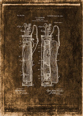 Vintage Caddy Bag Patent Drawing  - 1905 Art Print by Maria Angelica Maira