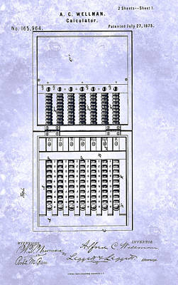 Painting - Vintage Calculator Patent From 1875 by Celestial Images