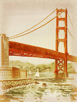 Painting - Vintage California Golden Gate Bridge by Irina Sztukowski
