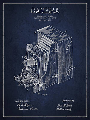 Vintage Camera Patent Drawing From 1887 Art Print by Aged Pixel
