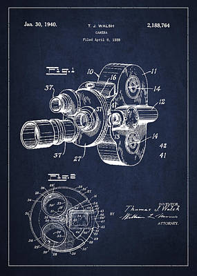 Technical Digital Art - Vintage Camera Patent Drawing From 1938 by Aged Pixel