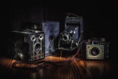 Bellows Photograph - Vintage Cameras Still Life by Tom Mc Nemar