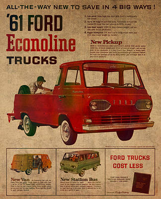 Transportation Mixed Media - Vintage Car Advertisement 1961 Ford Econoline Truck Ad Poster On Worn Faded Paper by Design Turnpike