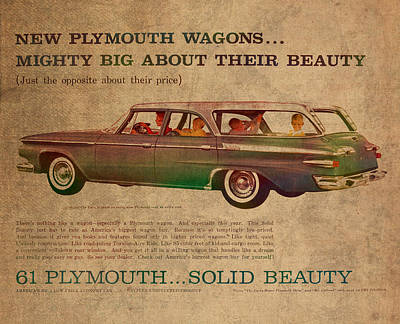 Paper Mixed Media - Vintage Car Advertisement 1961 Plymouth Wagon Ad Poster On Worn Faded Paper by Design Turnpike