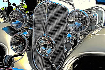 Photograph - Vintage Car Art Buick Grill And Headlight Hdr by Lesa Fine