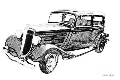 Vintage Car Art Ford-bw Pencil Sketch Art Print by Lesa Fine