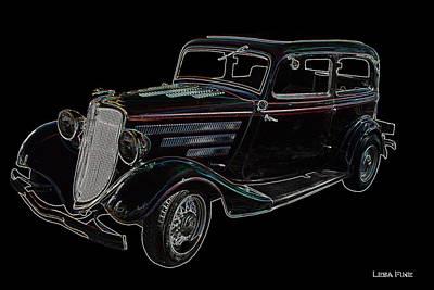 Vintage Car Art Ford Neon Outline Print by Lesa Fine
