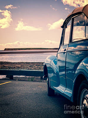 Vintage Car At The Beach  Art Print by Edward Fielding