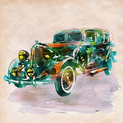 Transportation Mixed Media - Vintage Car In Watercolor by Marian Voicu