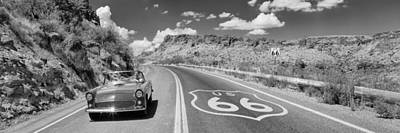 Vintage Car Moving On The Road, Route Art Print by Panoramic Images
