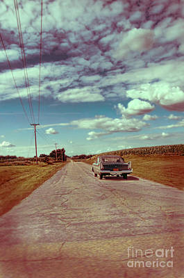 Vintage Car On Country Road Art Print