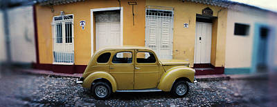 Trinidad House Photograph - Vintage Car On The Cobblestone Street by Panoramic Images
