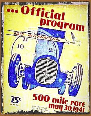 Vintage Tin Car Racing Poster Original