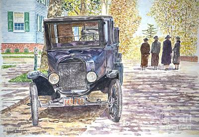Cobblestone Painting - Vintage Car Richmondtown by Anthony Butera