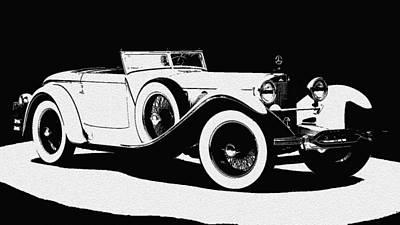 Hand Drawn Digital Art - Vintage Car Black And White II by Art Spectrum