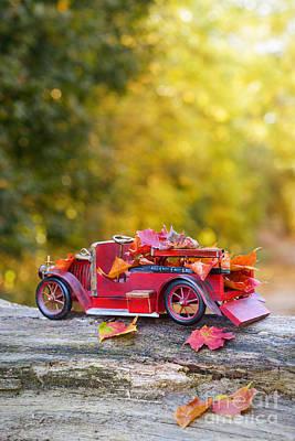 Vintage Car With Autumn Leaves Art Print