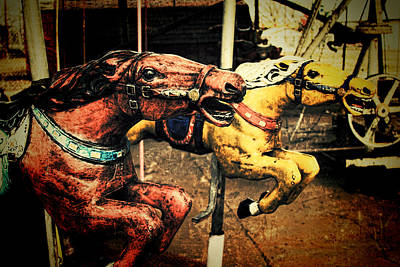 Photograph - Vintage Carousel Horses 002 by Tony Grider