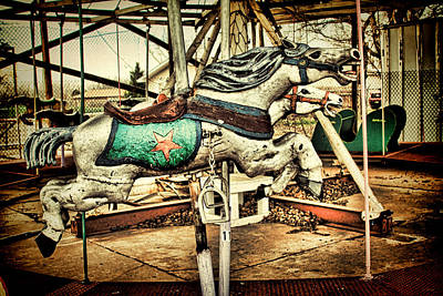 Photograph - Vintage Carousel Horses 003 by Tony Grider