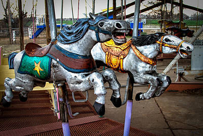 Photograph - Vintage Carousel Horses 010 by Tony Grider
