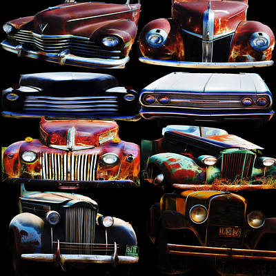 Vintage Cars Collage 2 Art Print by Cathy Anderson