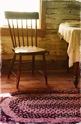 Cabin Window Photograph - Vintage Chair And Table by Jill Battaglia