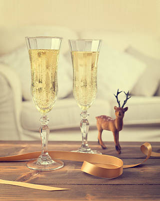 Gold Fill Photograph - Vintage Champagne by Amanda Elwell