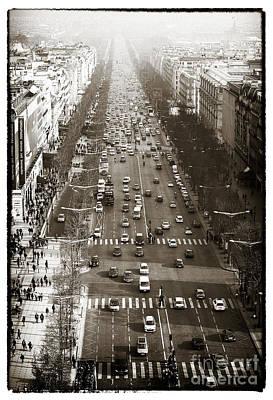 Vintage Champs Elysees Print by John Rizzuto