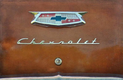 Burnt Digital Art - Vintage Chevrolet Emblem On Trunk by Cat Whipple