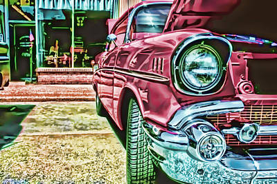 Photograph - Vintage Chevy Art Alley Cat Rose by Lesa Fine