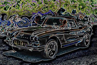 Vintage Chevrolet Digital Art - Vintage Chevy Corvette Black Neon Automotive Artwork by Lesa Fine