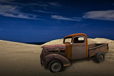 Vintage Chevy Pickup On The Dunes Art Print by Randall Nyhof