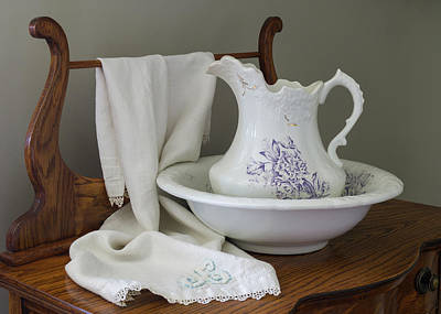 Photograph - Vintage China Pitcher And Bowl Sepia by MM Anderson