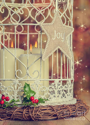 Vintage Christmas Candles Art Print by Amanda Elwell