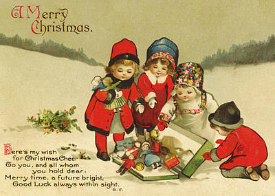 Photograph - Vintage Christmas Card Iv by David and Carol Kelly