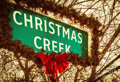 Photograph - Vintage Christmas Creek Sign by Imagery by Charly
