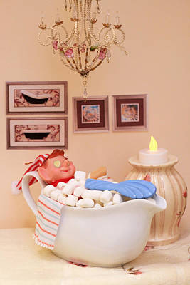 Photograph - Vintage Christmas Elf Bubble Bath by Barbara West