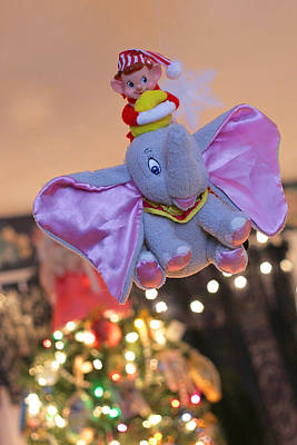 Photograph - Vintage Christmas Elf Flying With Dumbo by Barbara West