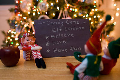Photograph - Vintage Christmas Elf Giving Elf Lessons by Barbara West