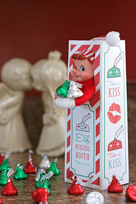 Photograph - Vintage Christmas Elf Kissing Booth by Barbara West